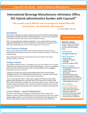 Beverage Manufacturer Cayosoft Case Study - 2019