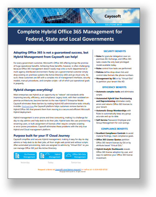 Brief - Complete Hybrid Office 365 Management for Federal, State, and Local Gov image
